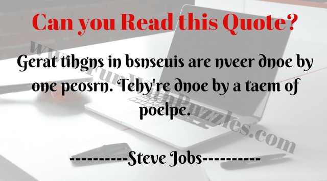 Reading Challenge of encrypted quote by Steve Jobs