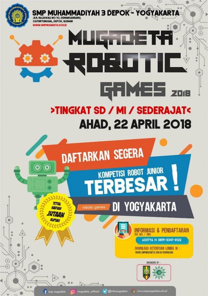 MUGADETA ROBOTIC GAMES 2018 - Kompetisi Robot Junior Jogjakarta