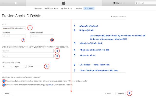 cách nhập mật khẩu tạo id apple