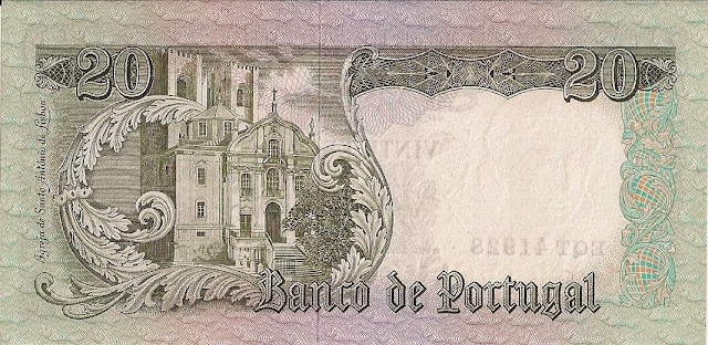 Portugal money currency 20 Escudos banknote 1964 Santo António Church