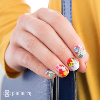 packs a punch, mother's day, gift set, jamberry, jamberry nails, nail art, nail warps, #popartfusionjn, #kapowjn
