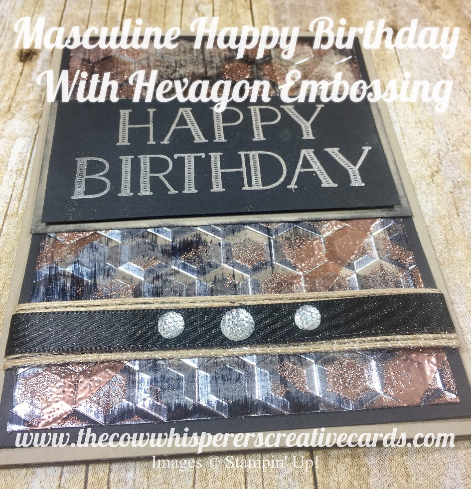 masculine happy birthday with hexagon embossing the cow