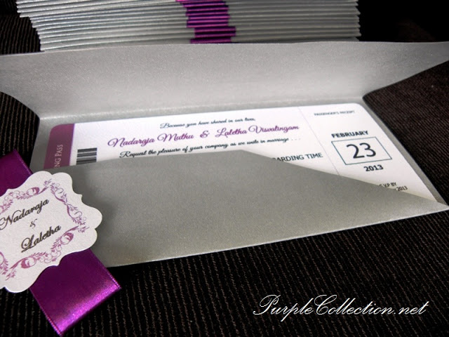 Grey & Purple Wedding Boarding Pass Cards, Grey and Purple, Grey, Purple, Wedding, Boarding Pass, Boarding Pass Cards, Cards, Boarding Pass Pockets, Marriage