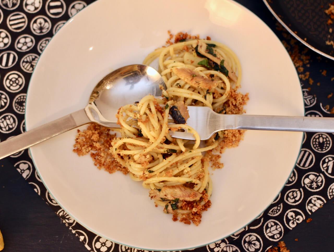 Rezept für Spaghetti Aglio e Olio mit Sardellen