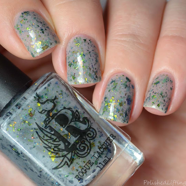 gray crelly flakie nail polish