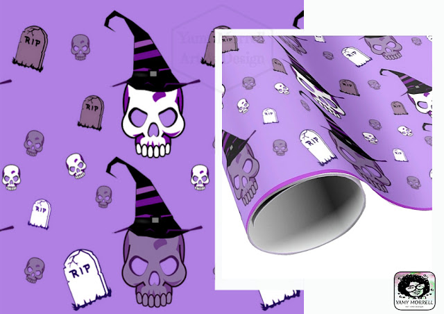 Halloween-skull-paper-gift--pattern-design-by-yamy-morrell