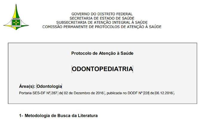 PDF: Odontopediatria - Protocolo de Atenção à Saúde