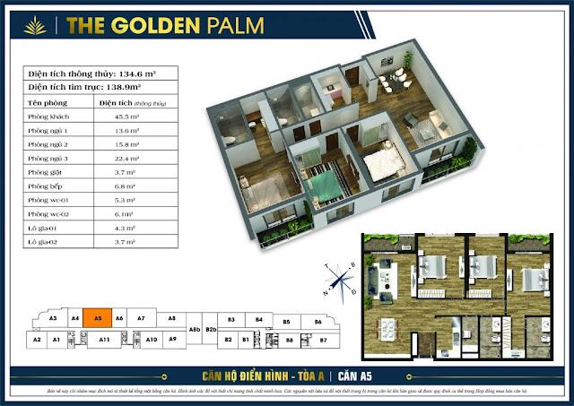 Mặt bằng căn A5 tòa A The Golden Palm