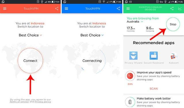 Cara membuka situs diblokir dengan Touch VPN