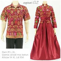 Batik Sarimbit Gamis Anjani2 merah