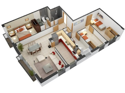 Modern house floor plans 3D with separated social area