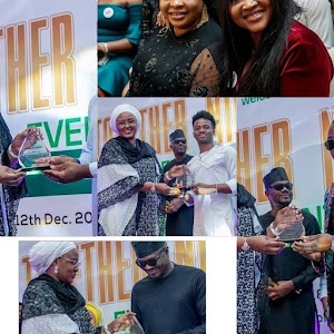 President Buhari and Wife Hosts Nigerian Entertainers in Aso Rock. (Photos)