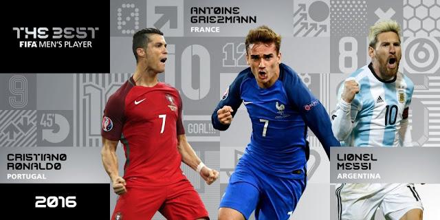 Prêmio de melhor jogador do mundo 2016: Messi, Ronaldo e Griezmann são os finalistas