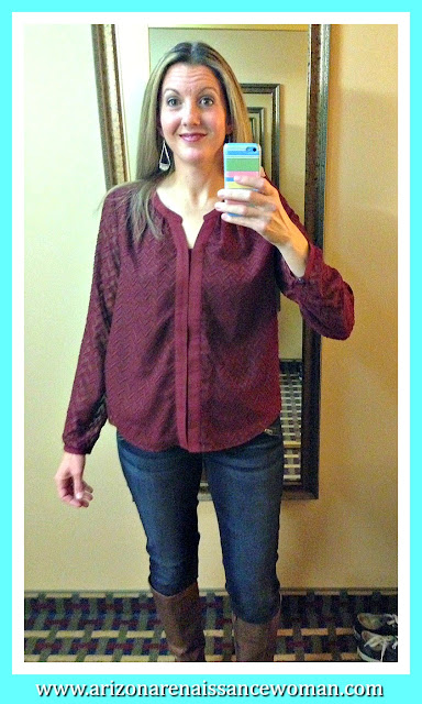 Skies Are Blue Nikkita Chevron Textured Blouse, Kut From the Kloth Baxley Zipper Detail Skinny Jeans and Vanessa Mooney Callahan Fan Drop Earrings