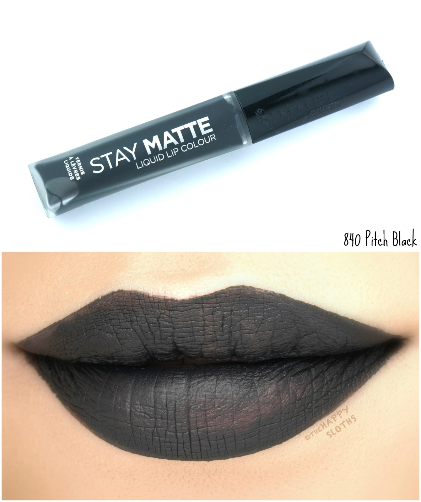 Rimmel London Stay Matte Liquid Lip Colour | 840 Pitch Black: Review and Swatches