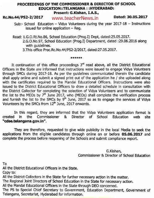 TS Vidya Volunteers 2018 Online Application form, Vacancies list @ cdse.telangana.gov.in