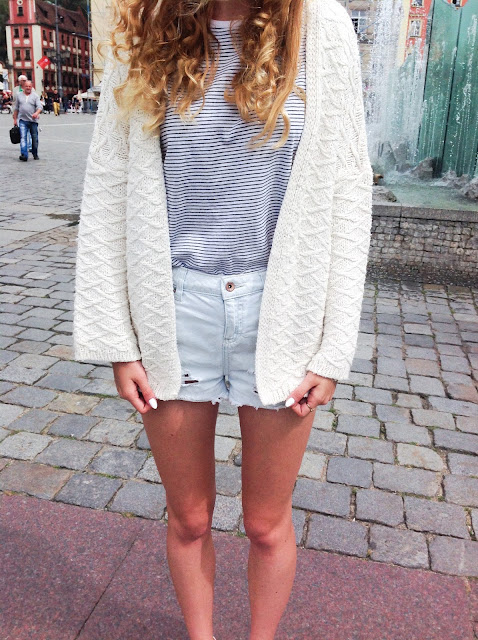 Jeansowe spodenki & T-shirt w paski | Denim shorts & striped T-shirt ♡