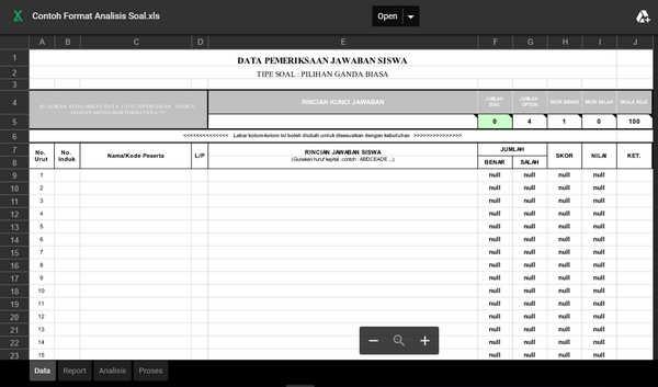 Aplikasi Analisis Soal Pilihan Ganda XLS