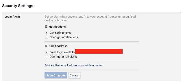 Login alerts settings in facebook