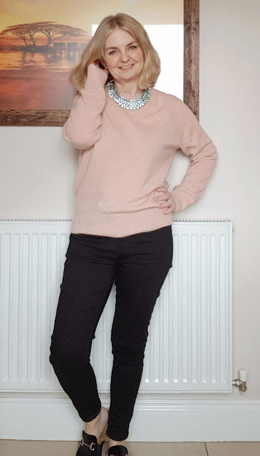 image showing pink cashmere sweater outfit