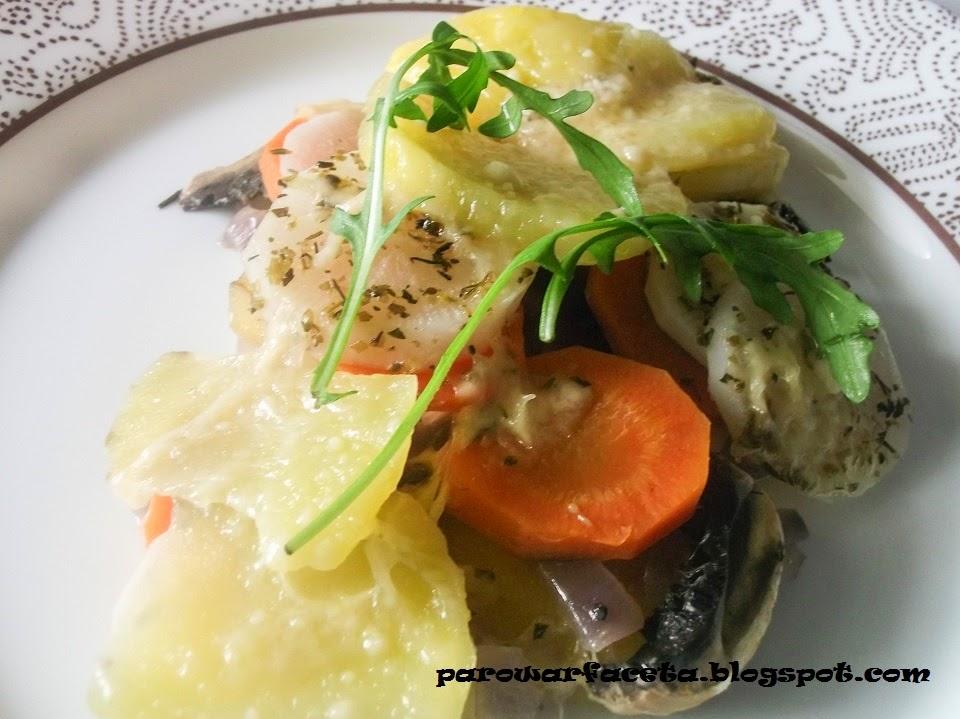 ziemniaki, marchew, pieczarki, biała rzodkiew w parowarze
