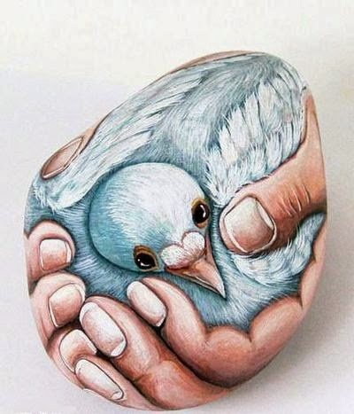piedras, rocas, decoración, pintura, Tutorial de Artesanía, ave, manos