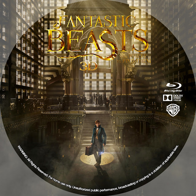 Fantastic Beasts And Where To Find Them 3D Bluray Label