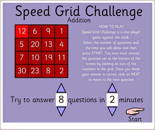 """Speed Grid Challenge Addition"" (Juego de Matemáticas de Primaria)"
