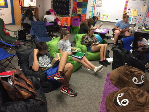 Flexible seating high school classroom