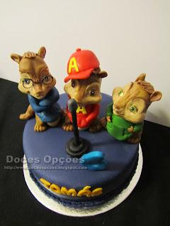 bolo de aniversário Alvin e os Esquilos doces opções
