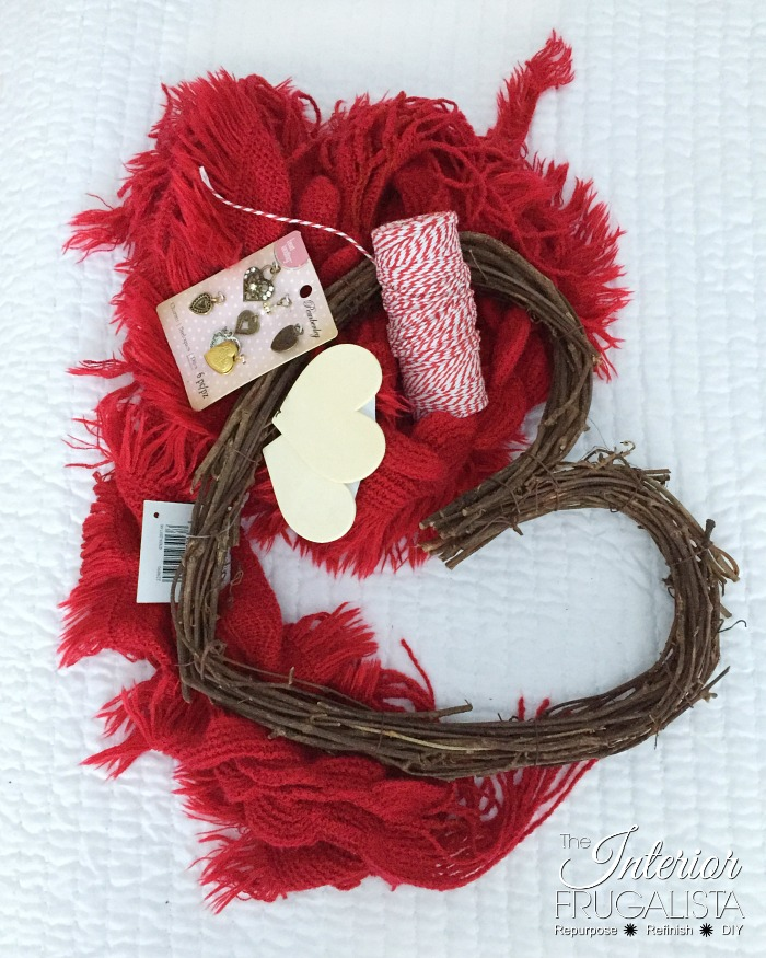 Recycled Valentine's Scarf Wreath Supplies