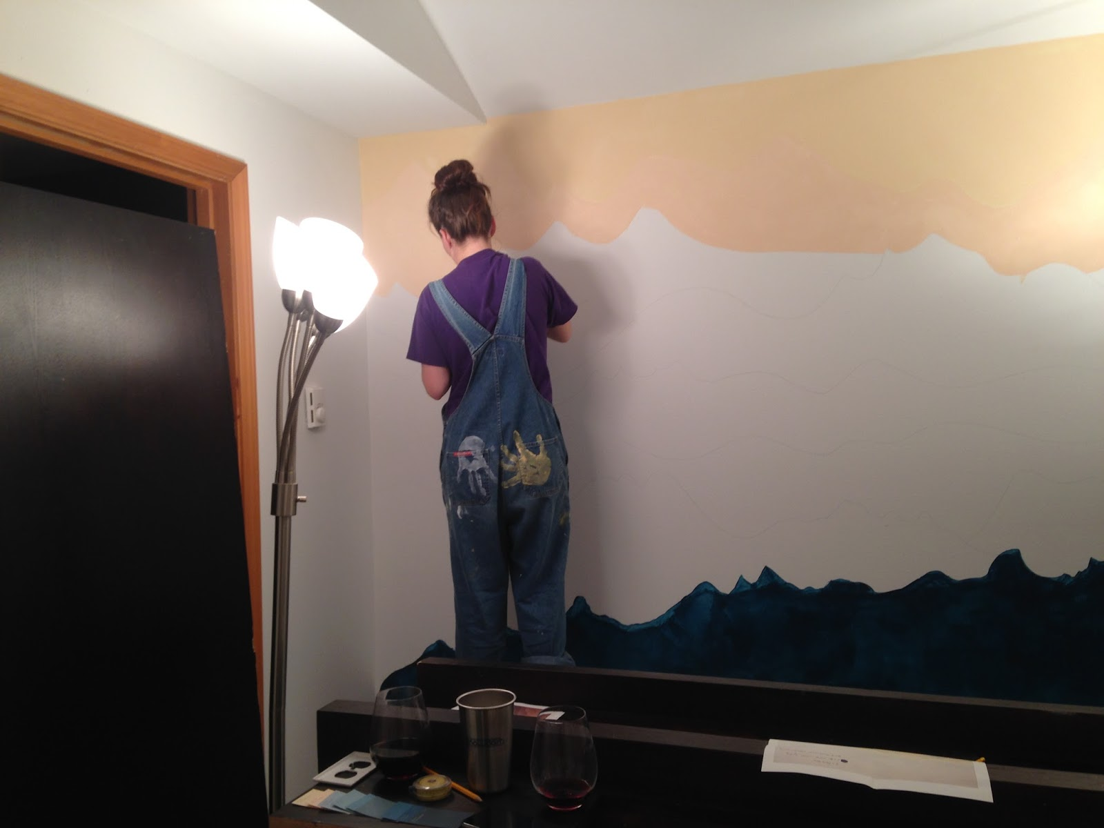 an adventurous life how to paint a mountain mural lisa painting layer 2