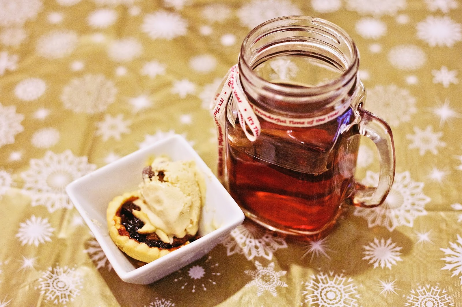 Cider in Mason Jar with Mince Pie and Ice Cream