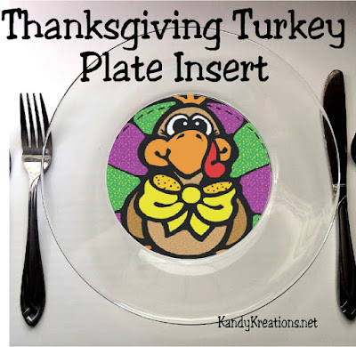 Decorate the kid's table with these fun Thanksgiving turkey plate inserts.  Simply glue to the back of a glass plate from Walmart and you have an easy and cute way to dress up your Thanksgiving table.
