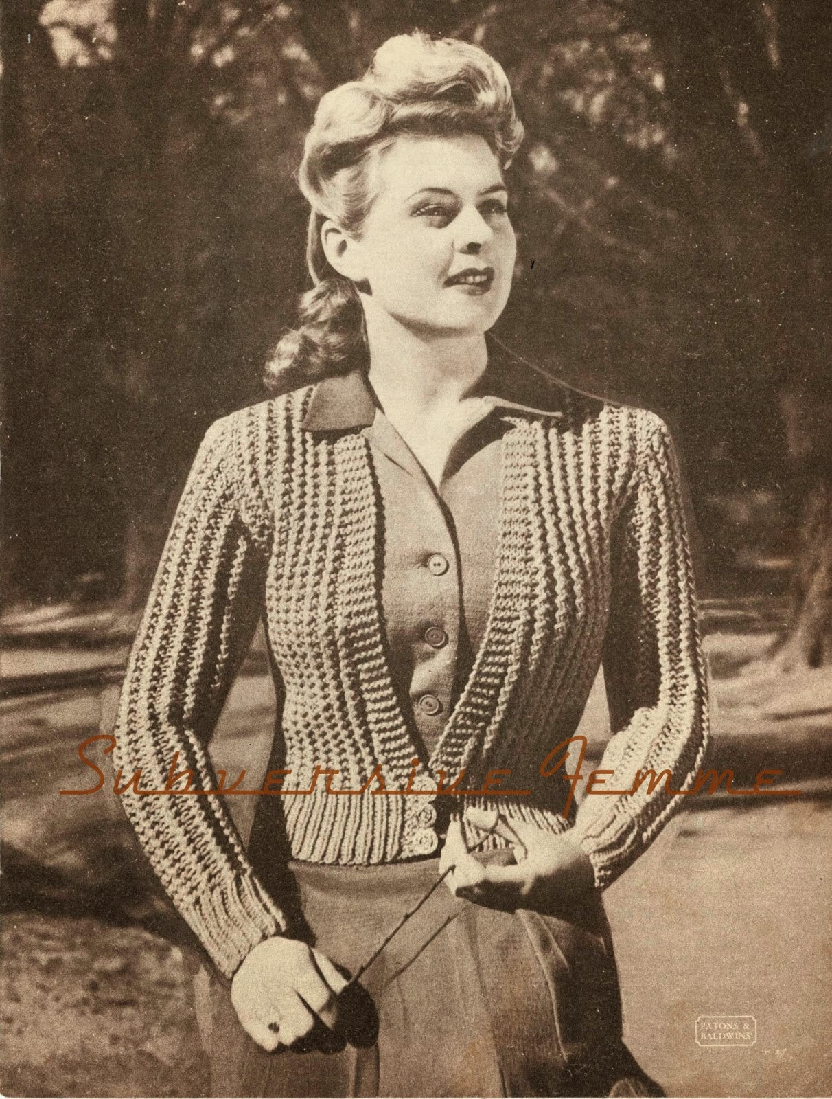 1940 Knitting Patterns Free : The Vintage Pattern Files: 1940s Knitting - Belinda Cardigan