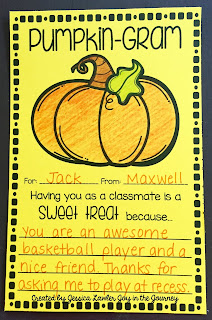 """These FREE """"Pumpkin Grams"""" are a fun way to spread kindness this Halloween! These note cards will brighten anyone's day – and with so many templates to choose from, you will be able to spread cheer everywhere! Created by Jessica Lawler"""