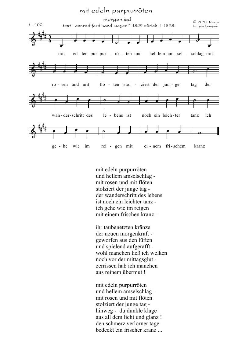 Lieder Saitenspiel Tronjes Blog Conrad Ferdinand Meyer Mit