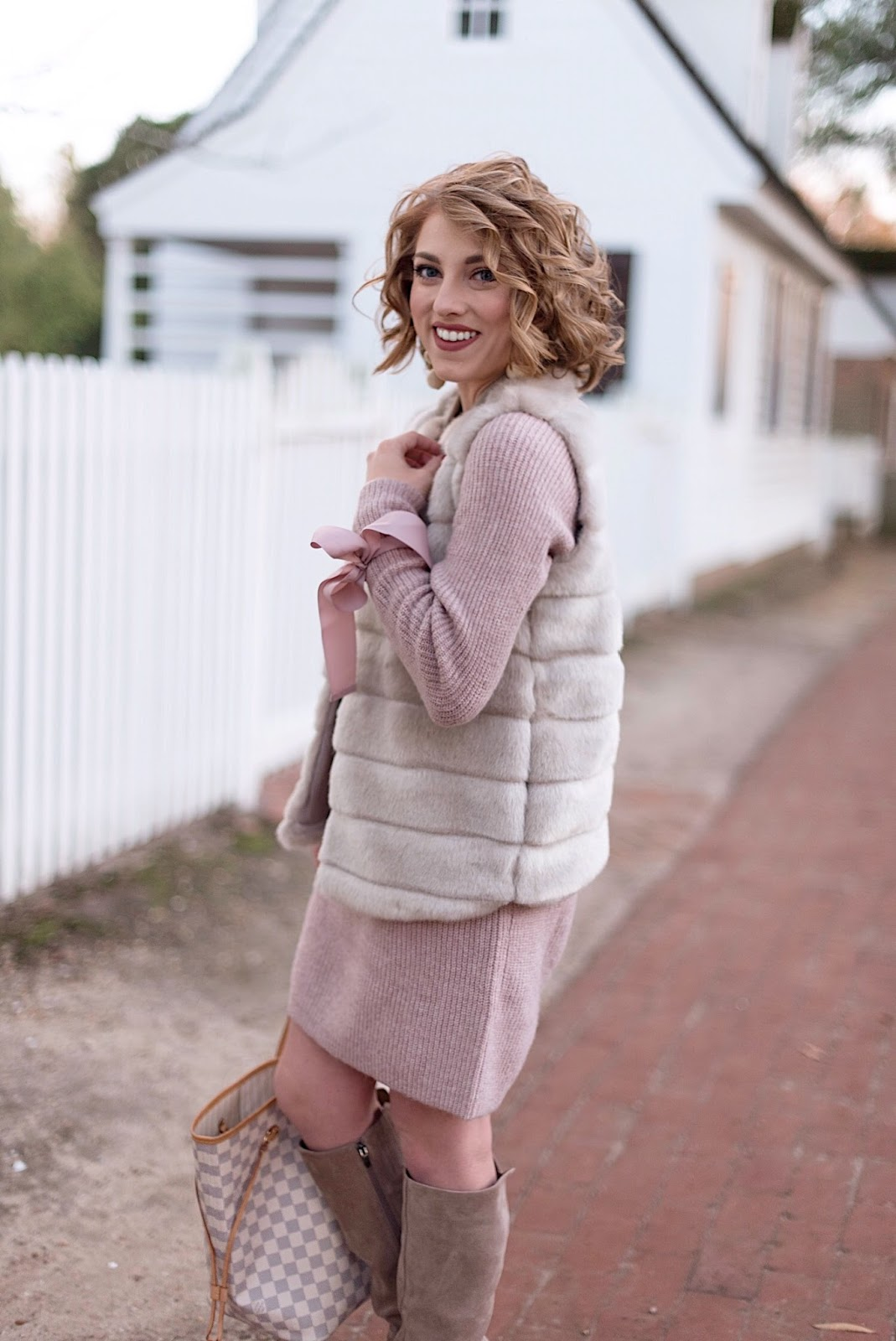Bow Sleeve Sweater Dress & Faux Fur Vest - Something Delightful Blog