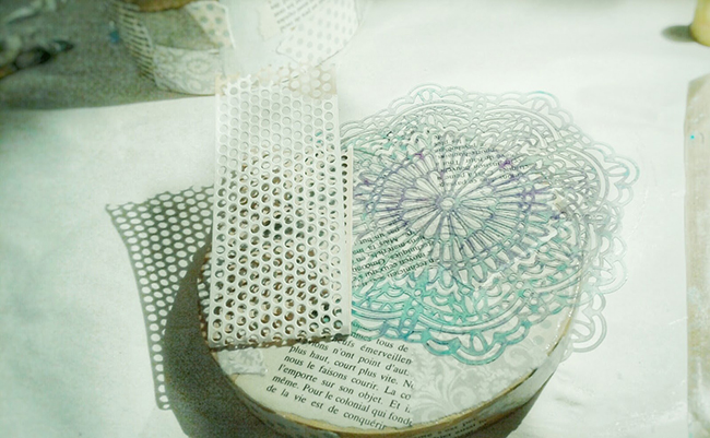 dollar store box, crafts, paper box, decorate, stencils paint