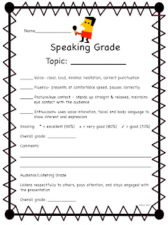 Me And MY Third Grade Gang: Speaking Rubric