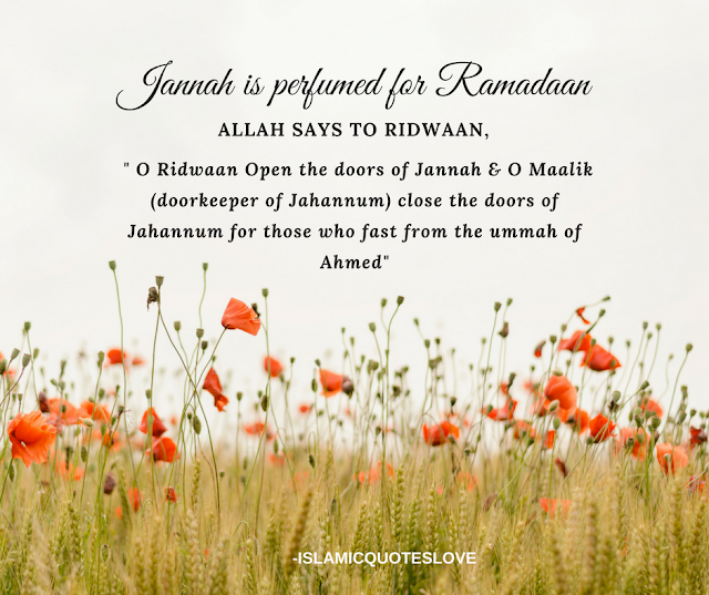 """Jannah is perfumed for Ramadaan.It is beautified from the beginning to the end of the yr. When the 1st night of Ramadaan comes , then a wind named Mutheera blows beneath the Arsh. This causes the leaves of the trees & the door handles to give of such a melodious as had never been heard before. The pleasing dark eyed damsels stand between the balconies of Jannah & call out """" O Ridwaan (keeper of Jannah) What night is this ?"""" He replies """" Labbaik this  is the first night of Ramadan . The doors of Jannah have been opened for the ummah of Nabi  ﷺ today.  الله says to Ridwaan, """" O Ridwaan Open the doors of Jannah & O Maalik (doorkeeper of Jahannum) close the doors of Jahannum for those who fast from the ummah of Ahmed ﷺ"""