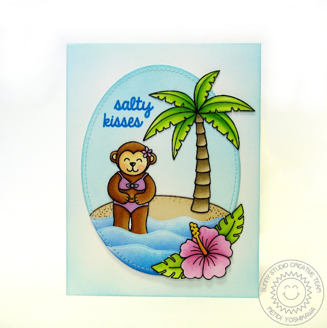Sunny Studio: Island Getaway Monkey Card by Mendi Yoshikawa (+ Wavy Borders dies & Tropical Paradise stamps)
