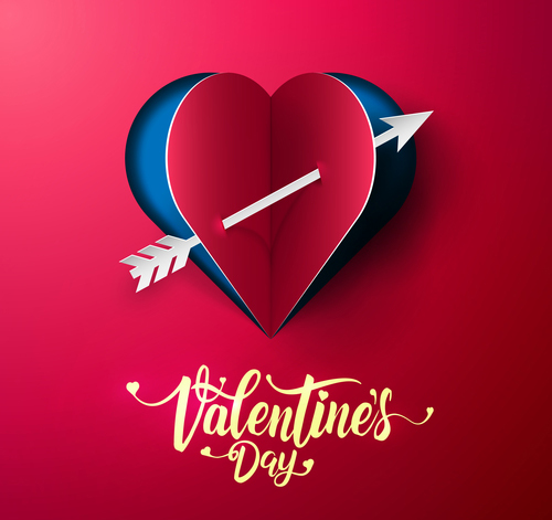 Happy Valentine's day Red paper Valentines day card free vectors