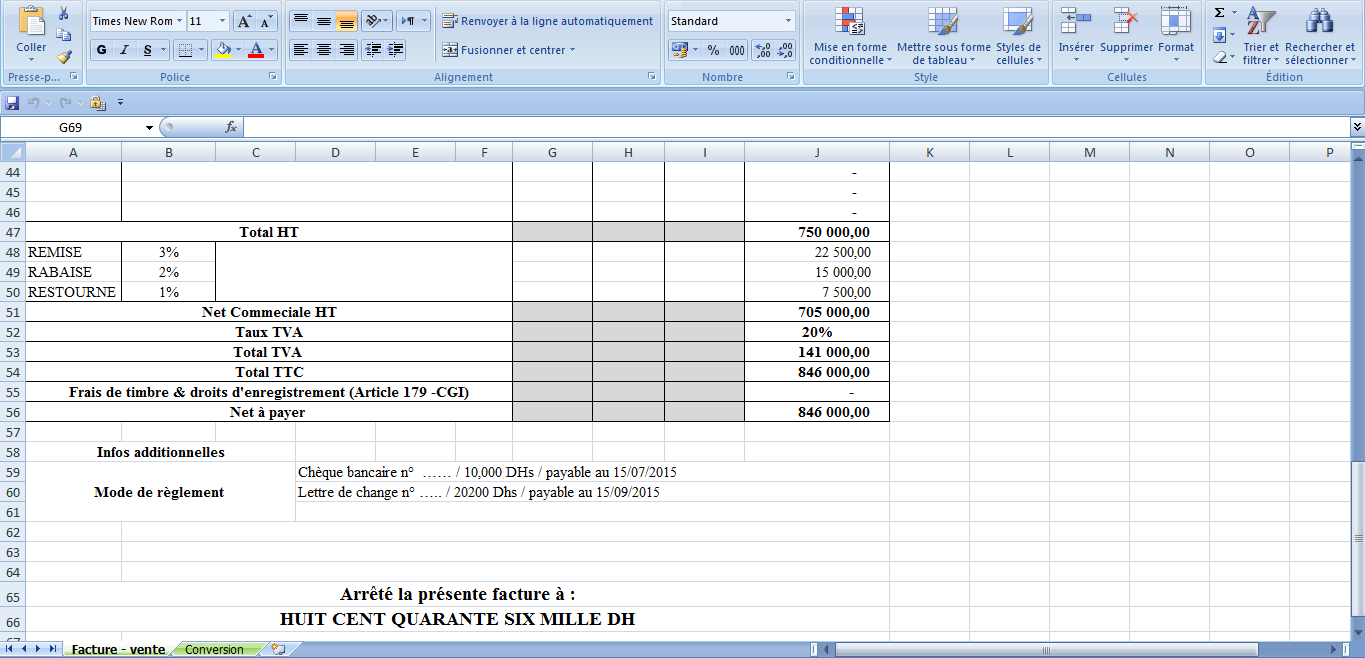 Modele facture excel maroc document online for Modele facture garage excel