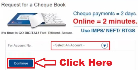 how to request for new cheque book in hdfc bank