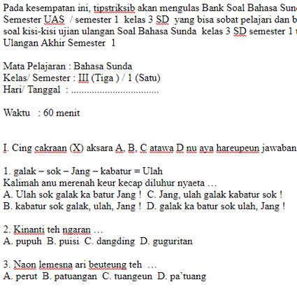 Kumpulan Soal Bahasa Sunda Smp Mts Kelas 9 Semester Ganjil Jawabanku Id