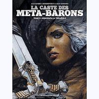 Portada de la novela gráfica La casta de los metabarones, en la que se ve a Honorata con una espada.