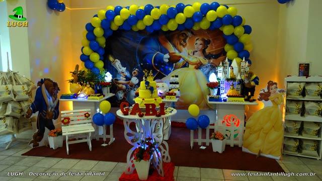 Decoração de mesa temática de aniversário para festa infantil - Tema A Bela e a Fera