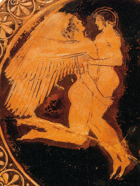 Attyckie czerwone malowidło wazowe przedstawia Hiacynta i Apollona w objęciach