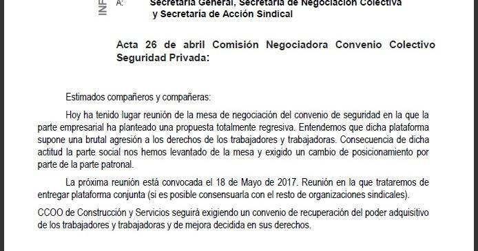 Securritos convenio estatal de seguridad 2017 for Fuera de convenio 2017
